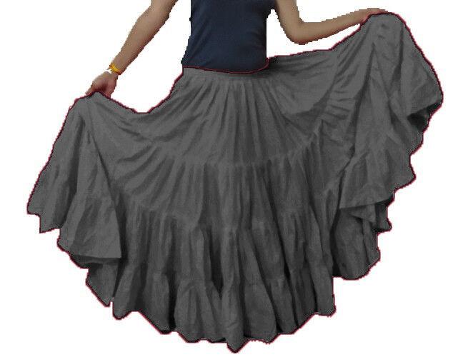 4eabb7f27f ... Cotton Women Belly Dance 25 Yard 4 Tier Tribal Gypsy Gypsy Gypsy Skirt  Tier Flamenco Ruffle ...
