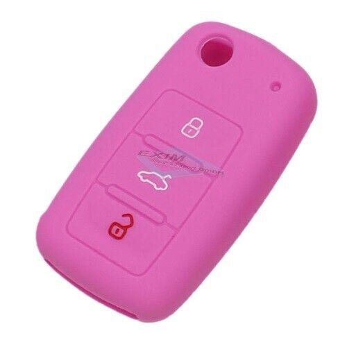 Clé Sac étui en silicone key cover rose pour VW Skoda Seat
