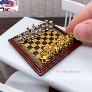 1/12 Dollhouse Miniature Metal Chess Silver & Golden and Board Set Play Game Toy