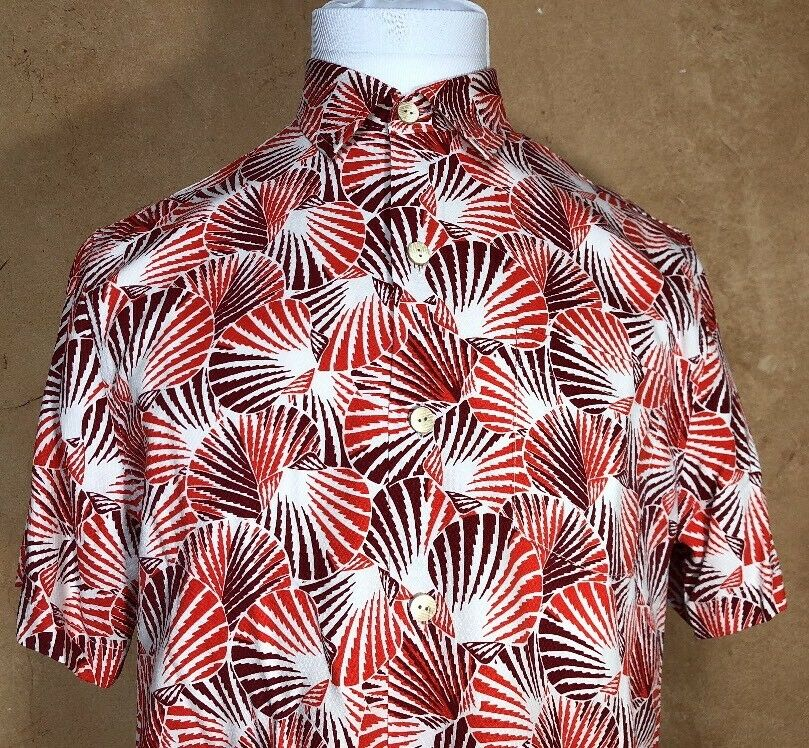 Tommy Bahama Caliente rosso Shell We Dance 100%  Silk Camp Shirt Uomo XL NWT  100% 118 3ad06c