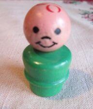 Fisher Price  LITTLE PEOPLE Green BOY Heat Stamp RED  WOOD Body Head RAISED BELT
