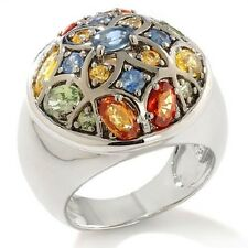 SIMA K STERLING SILVER 3.16CT COLORS OF SAPPHIRE CLUSTER RING SIZE 6 HSN $299.90
