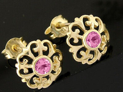 E076 GENUINE 9K 9ct Solid Gold NATURAL Pink Sapphire  Fleur-de-Lis Stud Earrings