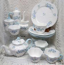 BEAUTIFUL SHELLEY DAINTY SHAPE BLUE ROCK TEA SET FOR 5 EARLY 20TH CENTURY