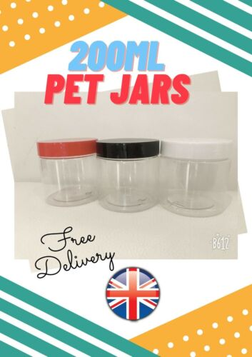 8 x 200ml CONTAINERS WITH SCREW TOP LIDS CANISTER PET TUB PLASTIC STORAGE JARS