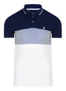 French-Connection-da-Uomo-Slim-Maglietta-Polo-di-Cotone-Blu-Tinta-Unita-Bianco