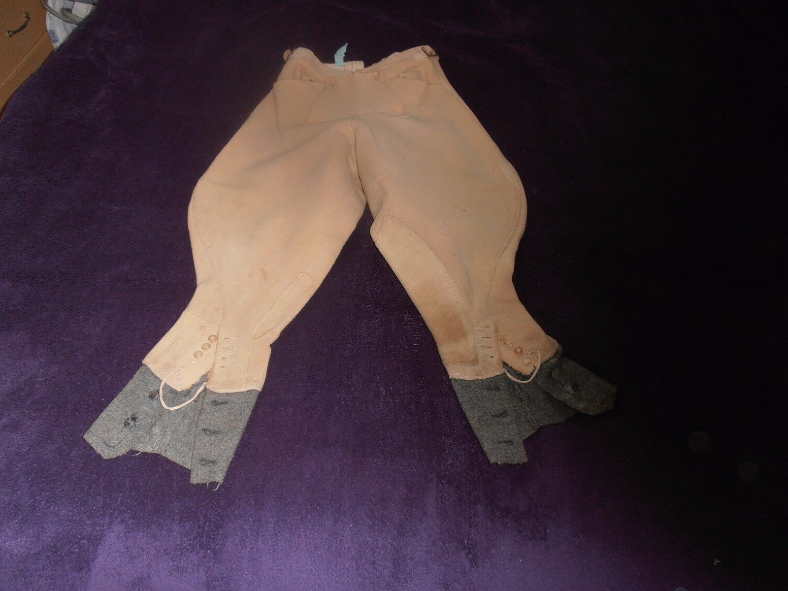 1930s Ladies Bespoke Fawn Riding Breeches W 22  L 19 1 2