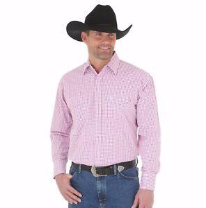 WRANGLER-George-Strait-Men-039-s-Pink-White-Plaid-Long-Sleeve-Snap-Shirt-MGSR356