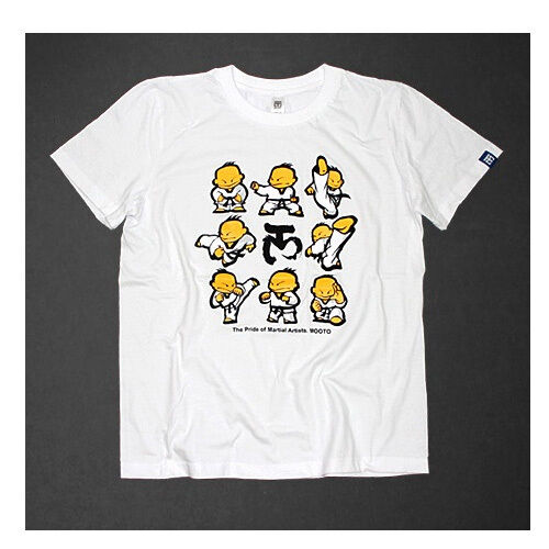 MOOTO TaeKwonDo Uniform T-Shirts white Taeki Taegi charactor Korean TKD tae kwon