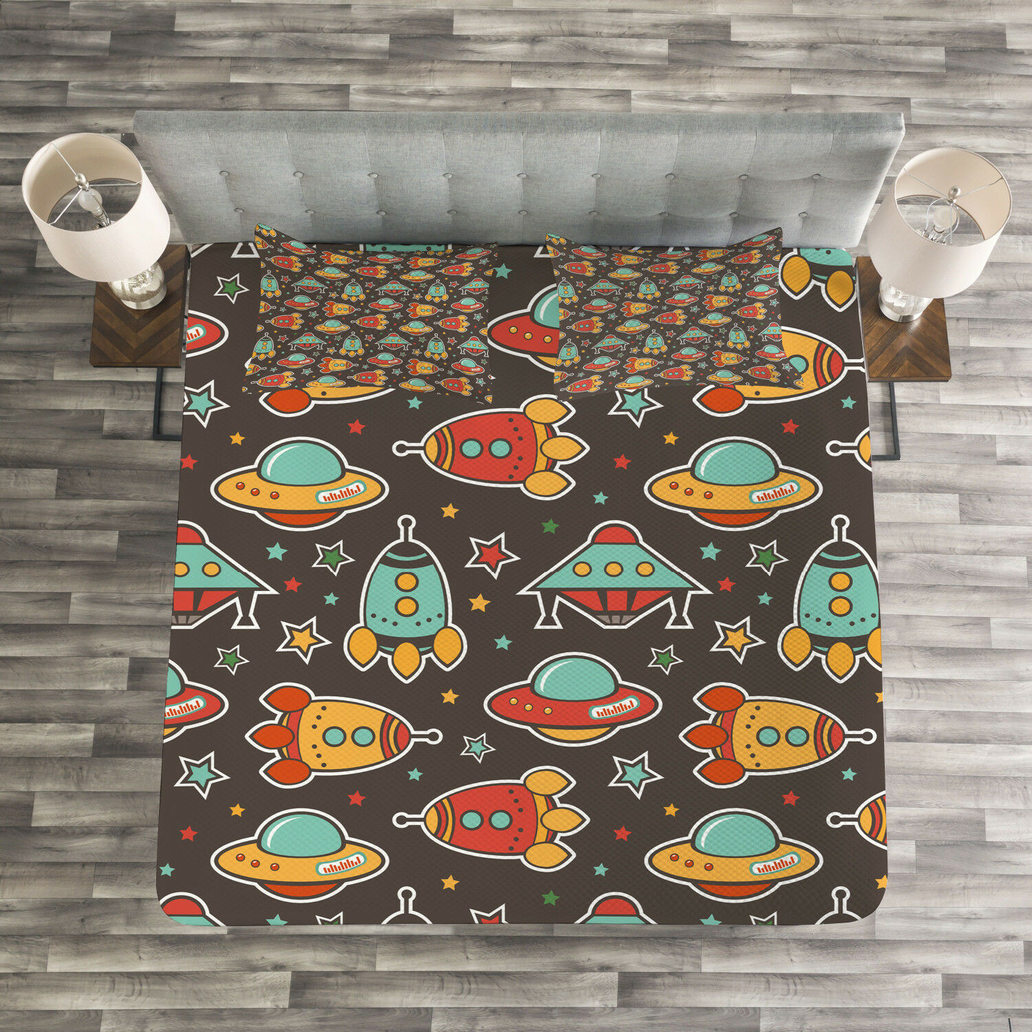 Space Quilted Bedspread & Pillow Shams Set, Outer Space Elements Print