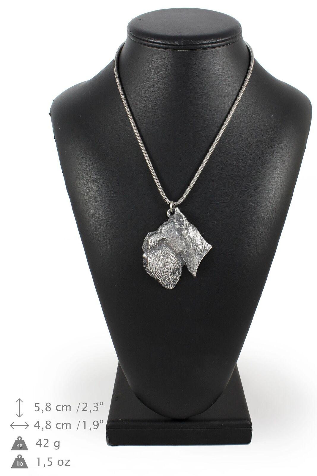 Schnauzer - silver plaqué collier sur une cordon en silver Art Dog FR