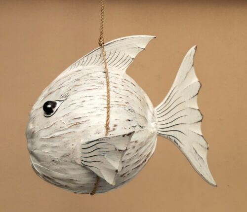 Unusual Hand Carved Coconut Puffer Fish Painted Shabby chic Puffer Fish Mobile