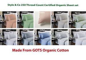 Style-amp-Co-250TC-Certified-GOTS-Organic-Cotton-Sheet-Set-KING-Queen-Double-Single