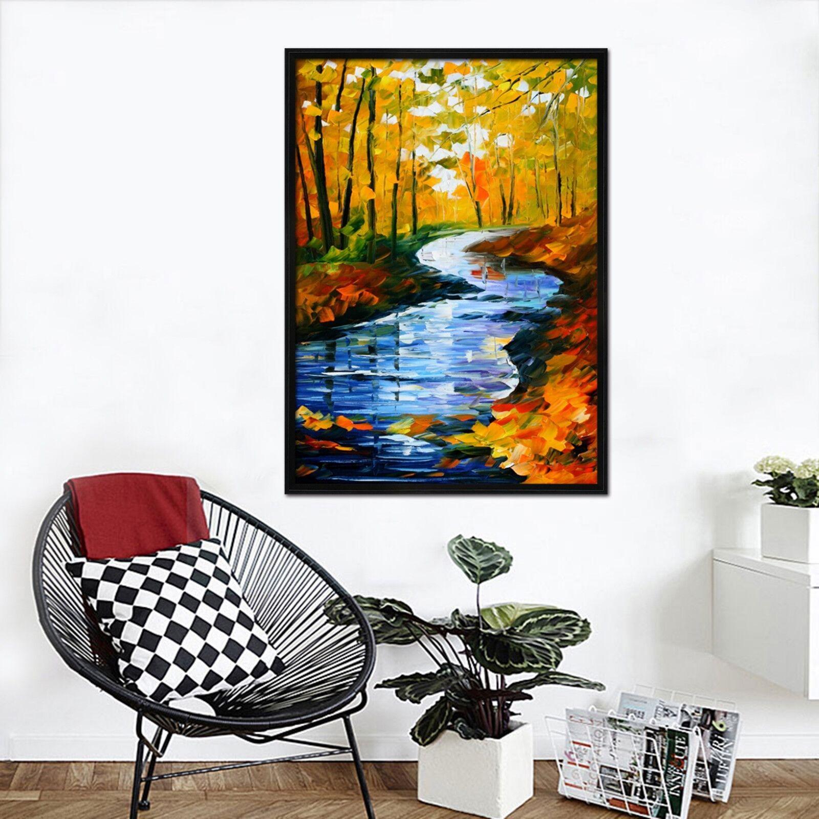 3D pintura al óleo Río 47 Enmarcado Cartel Decoración del Hogar Pintura de Impresión Arte AJ