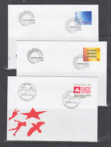 Switzerland-Mi-1637-1671-1998-issues-8-complete-sets-in-singles-on-20-FDCs-VF