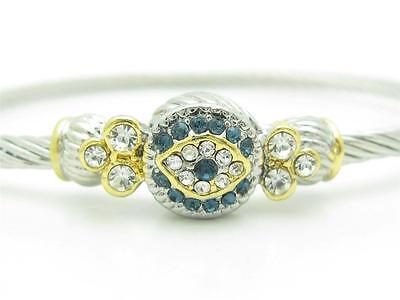Platinum Stainless Steel Evil Eye Kabbalah Crystal Eye Cable Bangle Bracelet New