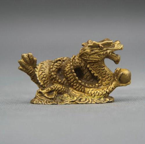 Exquisite Chinese Folk Bronze Copper Stand Year Zodiac Dragon Statue Sculpture