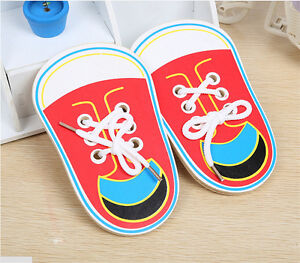 Wooden-Lacing-Shoe-Learn-to-Tie-Laces-Educational-Motor-Skills-kids-Children-ME