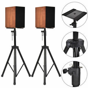 2-in-1-Speaker-Stands-Heavy-Duty-Adjustable-Studio-Monitor-Pair-Tripod-Band-DJ