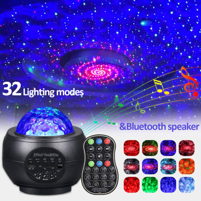 LED Starry Night Sky Galaxy Projector Party Decor Lamp 3D Ocean Wave Star Light