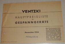 Teilekatalog Ventzki Gespanngeräte Pflüge / Grubber / Eggen Stand 12/1954