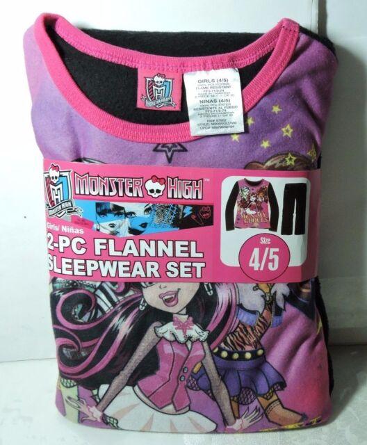 536b147d21 Newest New Girls MONSTER HIGH Flannel Pajamas 2 piece Sleep wear Set Size 4  5