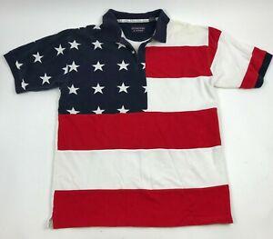 ROUNDTREE-amp-YORKE-Red-WHITE-Blue-STARS-Stripes-POLO-Shirt-AMERICAN-Flag-USA-Sz-L