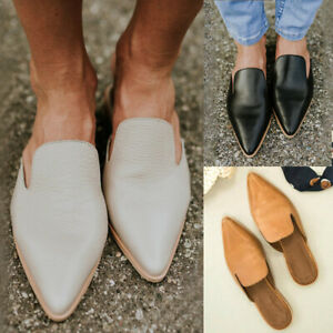 Women-039-s-Pointed-Toe-Flat-Sandals-PU-Leather-Slippers-Fashion-Mule-Shoes-Size
