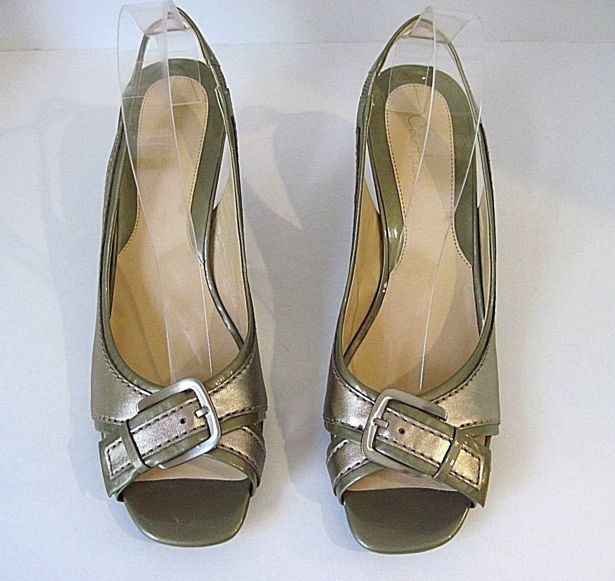 Cole Haan Gold Leather Leather Leather  Patent Leather Slingback Open Toe Heels Pumps 9.5B, NEW 166975