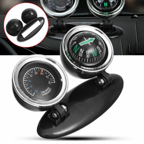 2 in 1 Car Mini Compass Thermometer Dashboard Guide Ball Automotive Ornaments