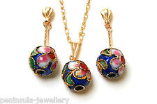 9ct Gold Pendant and Earring Set Blue Chinese Ball Made in UK Gift Boxed