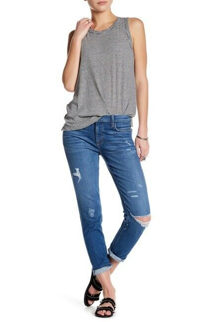 Current Elliott Fling Slim Relaxed Boyfriend Crop in Shaker Destroy - Size 26