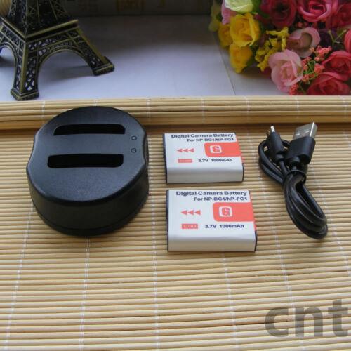 Cargador para Sony CyberShot DSC-H50 H20 H3 H7 H9 W110 W220 2X NP-BG1 FG1 Batería