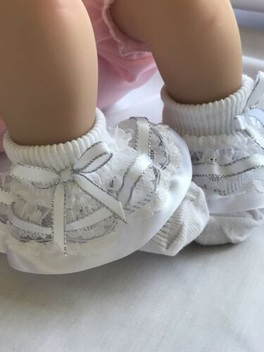 White Frilled Lace Baby Socks with White And Silver Ribbon Trim size 6-12 months