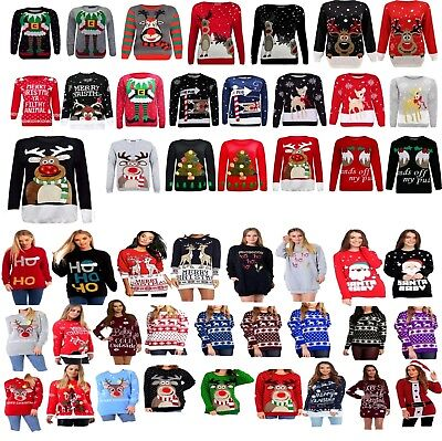 Das Beste Womens Mens Ladies Unisex Xmas Christmas Jumpers Knitted Reindeer Retro 3d Light