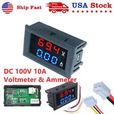 Mini Dc 100v 10a Dual Digital Voltmeter Ammeter Led Panel Amp Volt Meter Gauge
