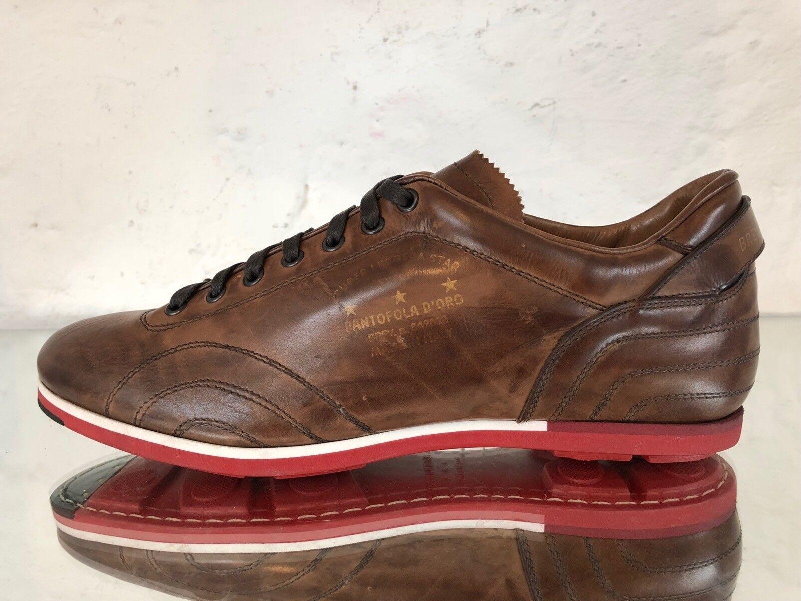 ☆ PANTOFOLA D´ORO PDO Sneaker Harold SSL2CU Leder cognac braun Gr.45 ☆
