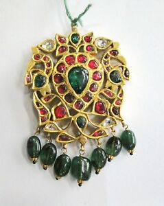 Vintage antique Solid 20K Gold jewelry diamond Polki Ruby Emerald