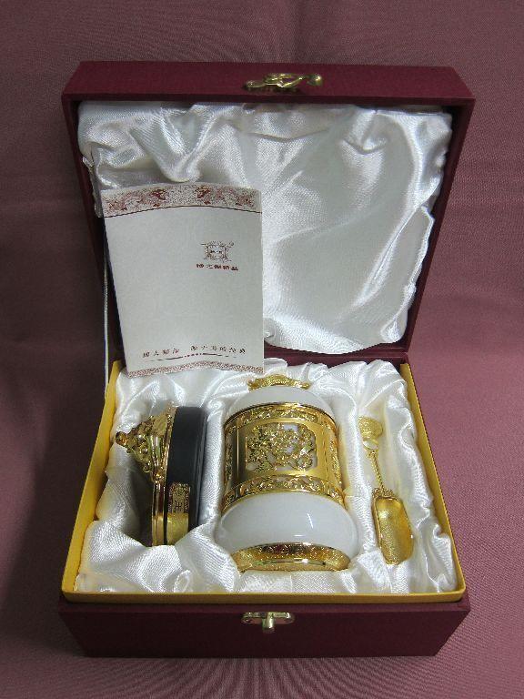 Espléndidas lata de té azúcar lata con w. zócalo w. con china Yu Tang fu GUI oro blanco 21289 70e19b