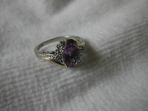 10K Yellow Gold Sterling Silver Amethyst & Diamond Ring