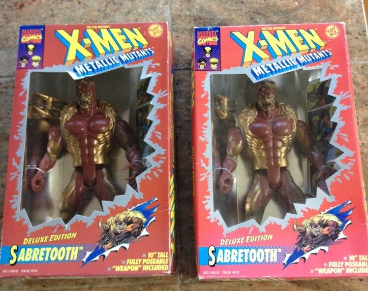 X-MEN SABRETOOTH METALLIC MUTANTS 10  DELUXE EDITION ACTION FIGURE - PAIR