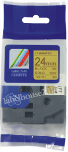 TZe-851 Black on Gold TZ 851 P-Touch Label maker Tape Compatible Brother 24mm