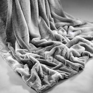 Rabbit-Faux-Fur-Sofa-Bed-Luxury-Throw-Over-Warm-Blanket-150-x-200-cm-Silver