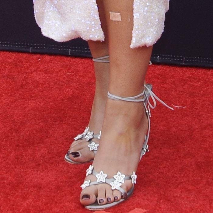 1325 ny Manolo Blahnik OSAKA OSAKA OSAKA Star Satin grå silver Sandals Jewel 38.5 41.5  Fri leverans och retur