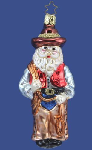 Inge Glas OWC 4177 Cowboy Santa German Glass Christmas Ornament