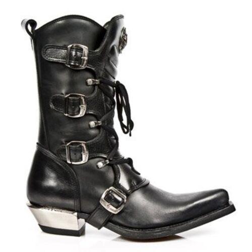 NewRock New Rock 7993-c2 Damen Stiefel mit Reißverschluss und Schnallen aus schwarzem Leder