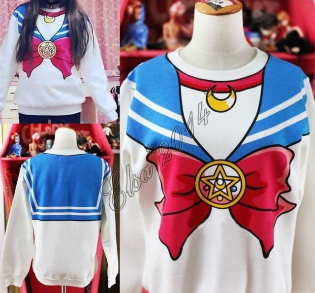 Sailor Moon Harajuku Sweater Print Top Cute Kawaii Cosplay Japan Anime White New