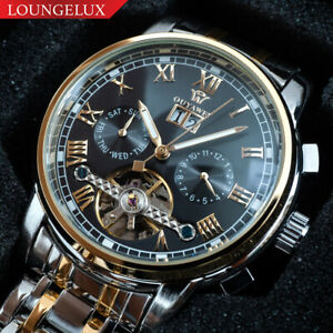 Mens-Open-Heart-Exhibition-Automatic-Mechanical-Month-Date-Day-Wrist-Watch