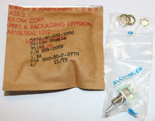 Alco Switch Aircraft Toggle Switch PN MTA-206N Sealed Package
