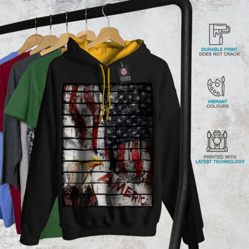Felpa Black Eagle cappuccio Usa cappuccio New oro con American Flag Uomo Contrast ffZqUT7xw